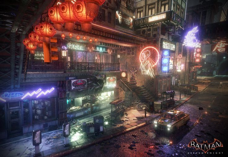 Batman Arkham Knight - Chinatown, Mark Ranson on ArtStation at https://www.artstation.com/artwork/batman-arkham-knight-chinatown