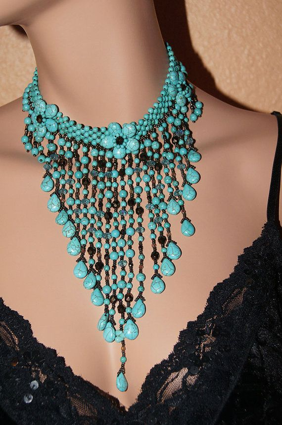 Statement  Necklace, Turquoise Drop Necklace, Fringe Necklace, Beadwork Necklace, Bubble Necklace