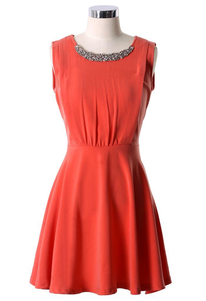 Sequins Collar Skater Dress