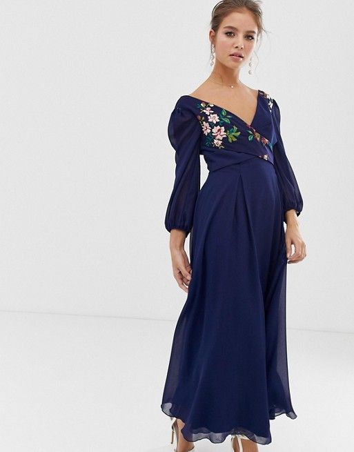 571ee1955f20 Little Mistress floral embroidered midaxi skater dress in navy | ASOS