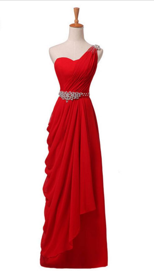 The Newly Arrived Elegant Party Gown With A One-shoulder Pleated Dress on Luulla