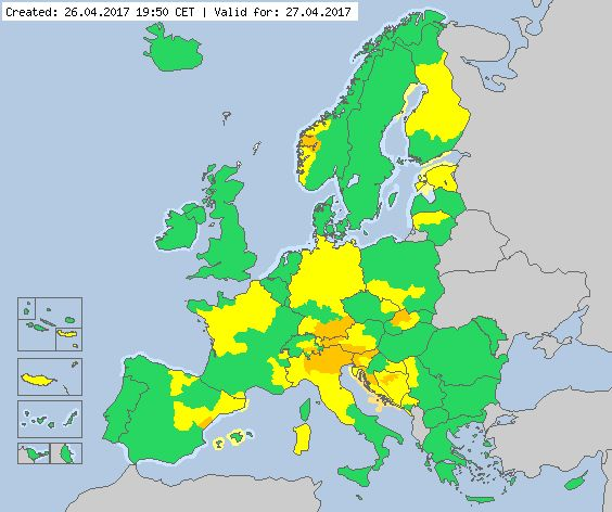 Valid for 27.04.2017 Meteoalarm - severe weather warnings for Europe - Mainpage