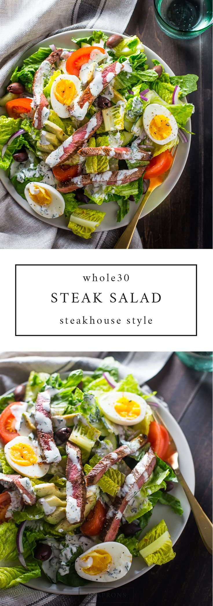 Whole30 Steak Salad Steakhouse Style. This Whole30 salad is stacked with protein and flavor, and you'll keep this in your paleo salad rotation!