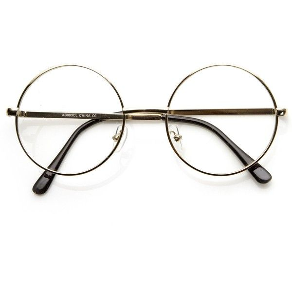 Vintage Lennon Inspired Clear Lens Round Frame Glasses 9222 ($9.99) ❤ liked on Polyvore featuring accessories, eyewear, eyeglasses, vintage eyeglasses, vintage eye glasses, vintage round glasses, round eyeglasses and circle glasses