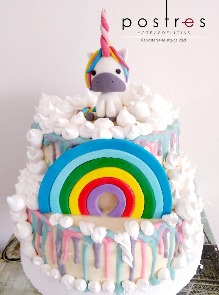 Dripping Cake de Unicornio #unicornio #drippingcake #postresyotrasdelicias