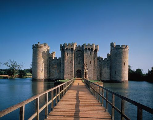 Bodiam Castle is a 14th-century moated castle near Robertsbridge in East Sussex, England. It was built in 1385 by Sir Edward Dalyngrigge, a former knight of Edward III, with the permission of Richard II, ostensibly to defend the area against French invasion during the Hundred Years' War.
