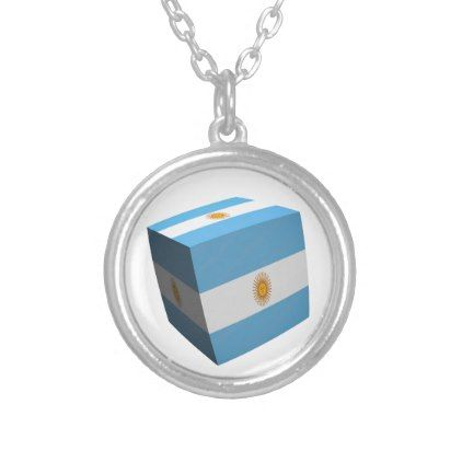 Argentinian flag cubed silver plated necklace - jewelry jewellery unique special diy gift present
