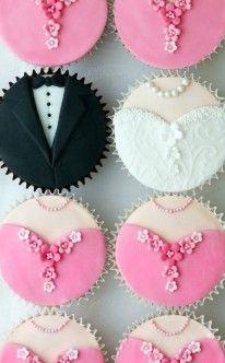 Brautpaar und Brautjungfern als Muffins