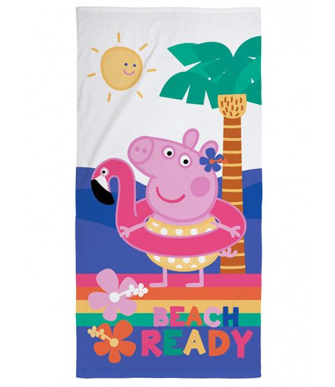 Peppa Pig Hooray Beach Towel. Made from 100% cotton, this large towel has a soft velour feel and features a great image of Peppa. Free UK delivery available.