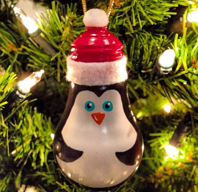 Painted Lightbulb Penguin Ornament Fun Crafts By Kelly