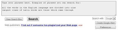 Check Duplicate Content (Plagiarism) online  This Duplicate content online checker tool uses one or more phrases from your article or post to find the internet for duplicate content.From this website you can create a Google alert for phrases so that when your created phrases are copied or published on the web by other people, you will be notified by from e-mail by Google which are giving  the Google alerts service.