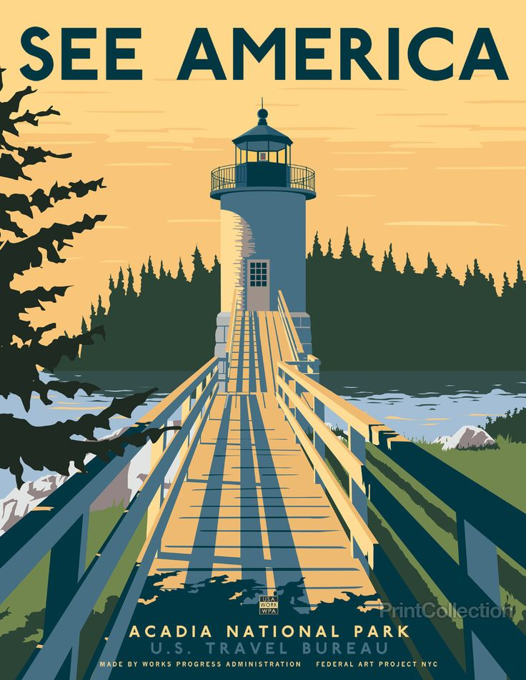 "See America poster celebrating the Maine, Acadia National Park and the Isle Au Haut lighthouse. Illustration by Steven Thomas in 2013. This is one of a series of 10 posters under the ""Works Progress Administration (WPA), ""See America"" poster series commissioned by Print Collection, in the spirit of the 1930's originals featuring many of America's most notable landmarks."