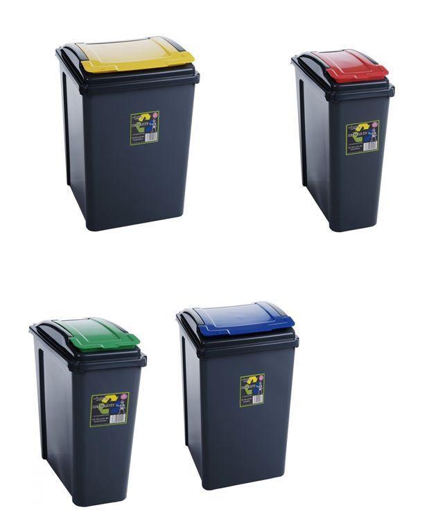 Plastic Flap Lid Top Bin Waste Rubbish Dust Home Kitchen Office Dog 25 L Handy