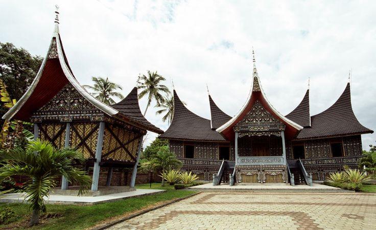 Minangkabau traditional style house in Central Sumatra, Indonesia