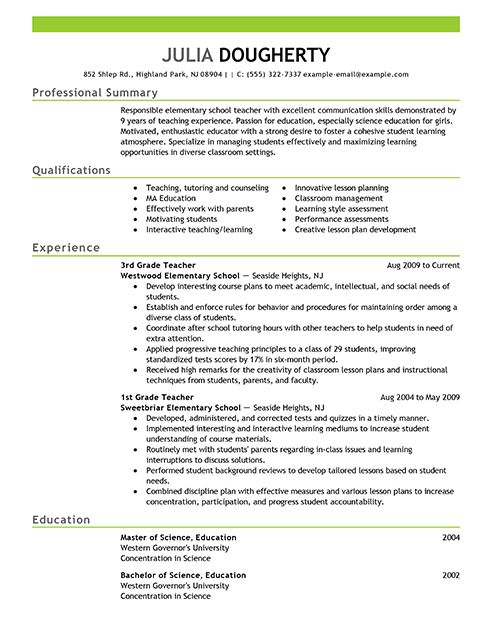Superior Good Teacher Resume