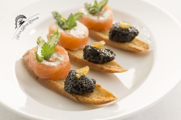 Black River Caviar and smoked salmon with creme fraiche-- the perfect appetizer