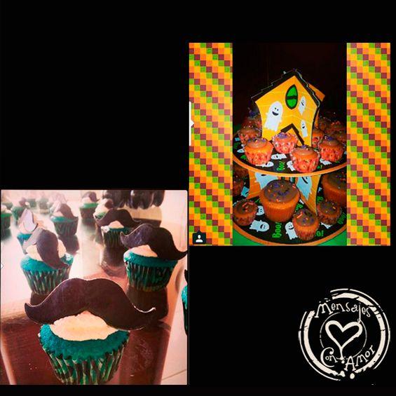 """Cupcakes pala Temporada de Halloween y en forma de mostacho: Cupcakes de halloween y en forma de Mostacho  Cupcakes Especiales con forma para halloween-Mostachos y con Mensajes Creados con la receta tradicional """"Mensajes con Amor""""; elaborados de vainilla, chocolate, mix, esponjosos con suave cubierta de vainilla, decorados con topings de colores o chispitas de chocolate. Los Cupcakes de vainilla se pueden hacer en diferentes tonos al igual que la cubierta"""