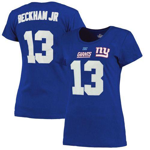 Women's New York Giants Odell Beckham Jr. Majestic Royal Blue Fair Catch V Name & Number T-Shirt