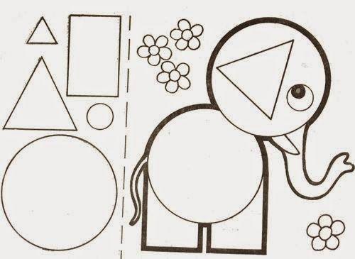 Trabalhar formas geométricas deste modo pode ser divertido. Imprima o desenho ou animalzinho que esteja dentro do tema trabalhado. Eles pod...