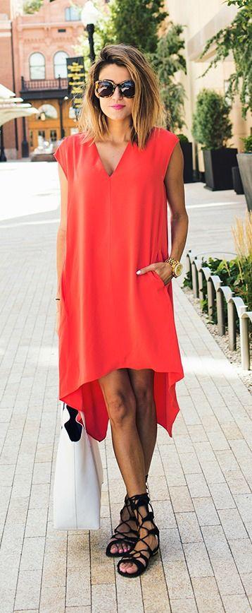 Red shift dress + gladiator sandals.