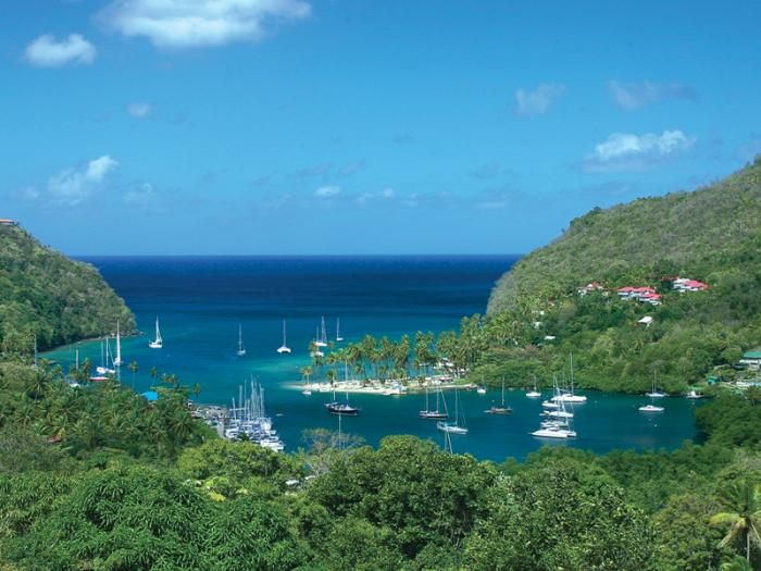 Marigot Bay, St. Lucia.  Spent a week living in one of those little red houses on the hill.  Just gorgeous!
