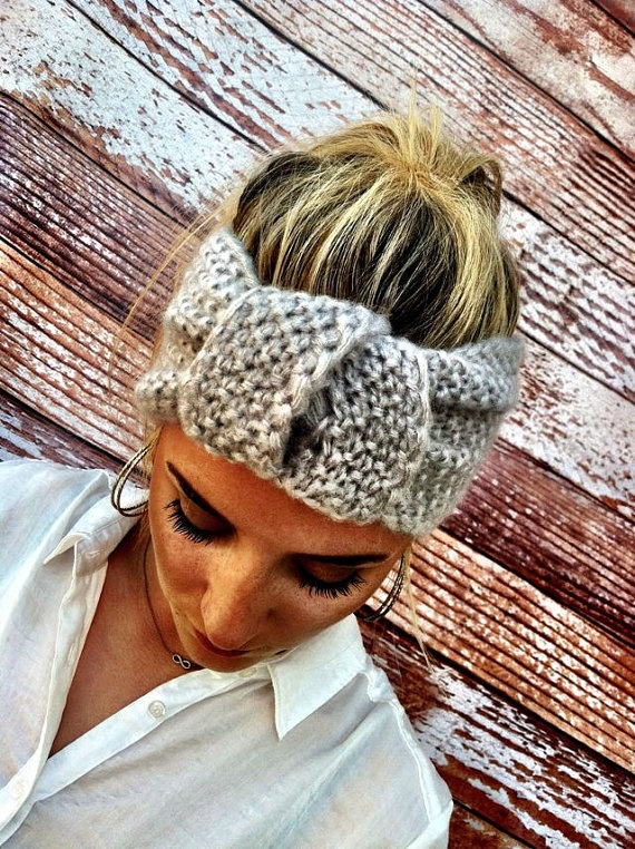 Knotted Headband Knitted Turband Mohair Ear by ThreeBirdNest, $28.00