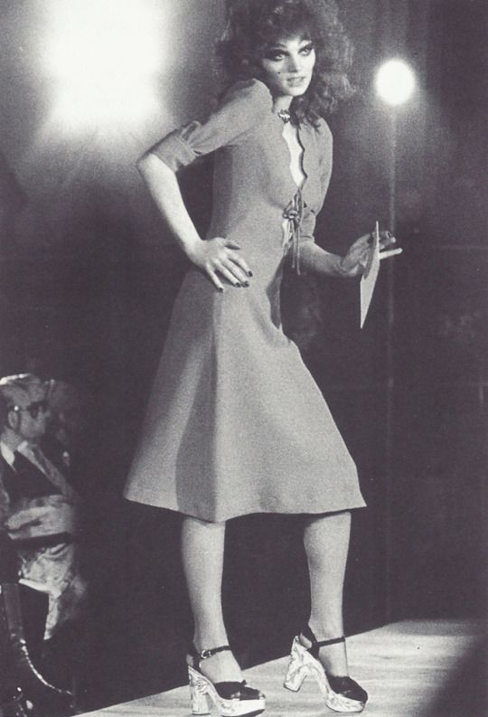 Gala Mitchell wearing a dress designed by Ossie Clark