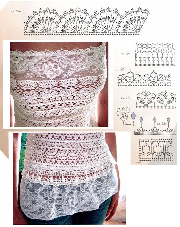 'crochet e renda: Hook, Patron, Crochet Diagrams, Knitting, Crochet Tops Blouses Tunics, Tissue, Crochet Patterns, Crochet Tops