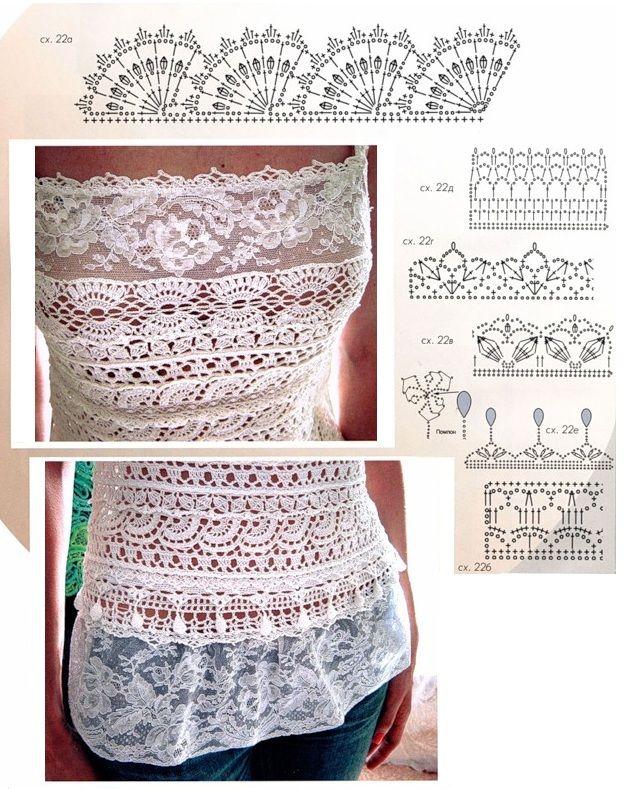 'crochet e renda: Hook, Crochet Magliett, Crochet Lace Tops Patterns, Crochet Detal, Tops De, Crochet Patterns, Crochet Edge, Tops Crochet, Crochet Clothing