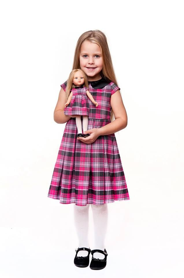 Pink checked dress for girl and for doll.// Das Kleid fur Madchen und Puppe - rosa farbe.