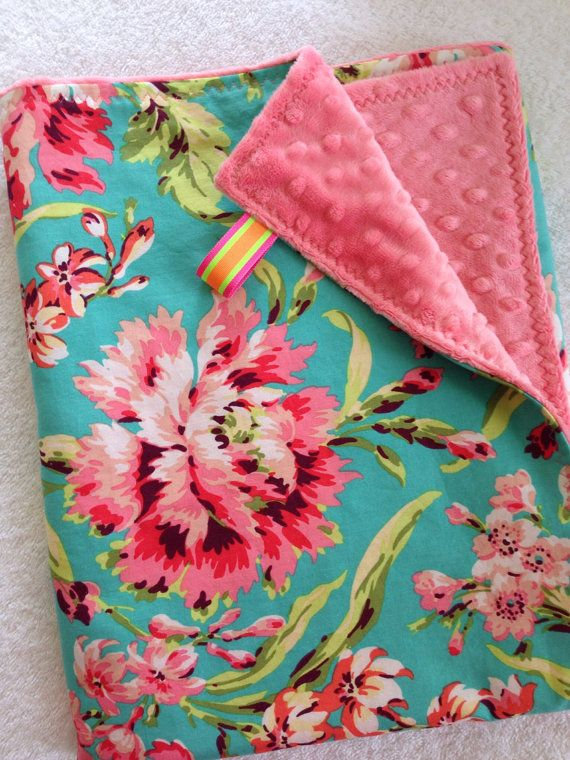 6edc8805700e7 Soft Minky   Cotton Baby Girl Blanket~Nursing Cover~Amy Butler~Bliss  Bouquet~Coral Pink~Lime Green~Pink~Turquoise on Etsy