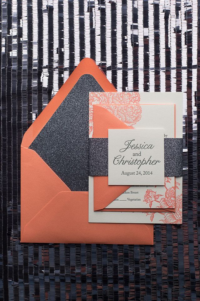 ELIZABETH Suite Glitter Package, grey and coral, glitter wedding invitations, peonies on invitation, black friday invitation deals, black friday sale, letterpress wedding invitations