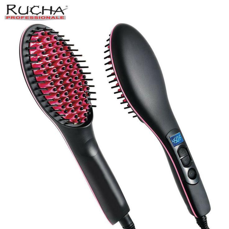 Rucha recto de cerámica cepillo de pelo peine alisador con pantalla lcd digital plancha de pelo eléctrico cepillo