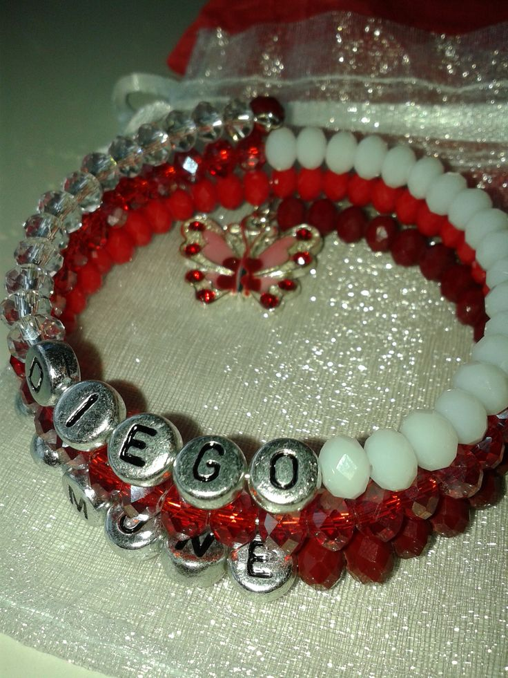 Bracelet Personalised red and white with butterfly.