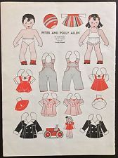 1939, The Twins, Polly & Peter, Allen Family Series Mag. Paper Dolls, Wee Wisdom