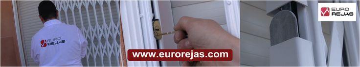 Detalle de cierre de seguridad para rejas extensibles en puertas