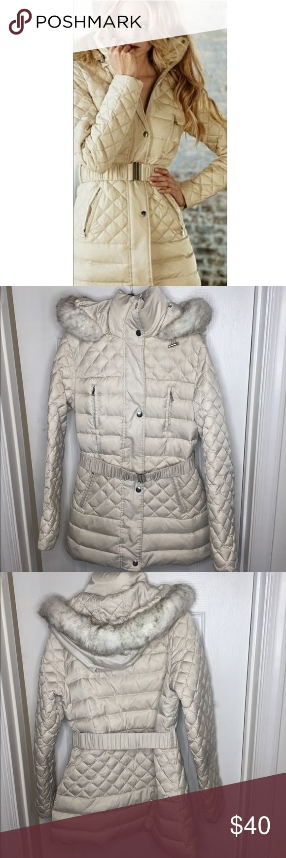 Moda International Victoria's Secret Puffer jacket Like new super warm puffer jacket perfect for the cold months. Can be worn casually or to a nice event. Faux fur hood and belt included. Form fitting and flattering. Moda International Jackets & Coats Puffers