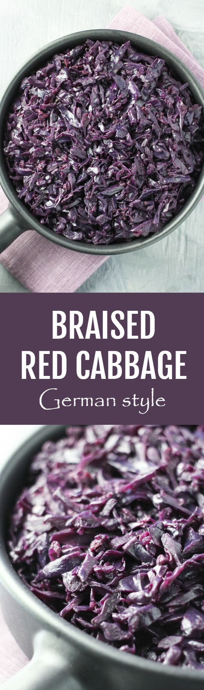 This braised German Red Cabbage is very easy to make. Serve it as a side dish for meat, fish, fried or poached eggs, or as a part of your veggie-grain bowl. #cabbage #vegan #cleaneating #recipe #plantbased #healthy #realfood
