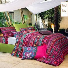 FADFAY Bohemian Style Bedding Bohemian Duvet Covers Boho Bedding Set Queen Size Summer Style Sabanas Sheet 4 Pieces * Click image for more details.