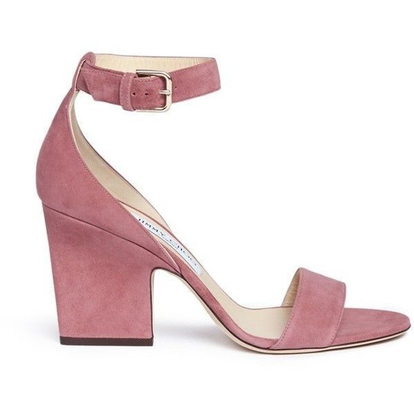 Jimmy Choo 'Edina 85' sculpted heel suede sandals ($625) ❤ liked on Polyvore featuring shoes, sandals, pink, jimmy choo stilettos, pink sandals, pink suede sandals, chunky-heel sandals and high heel stilettos #sandalsheelschunky #jimmychooheelspink