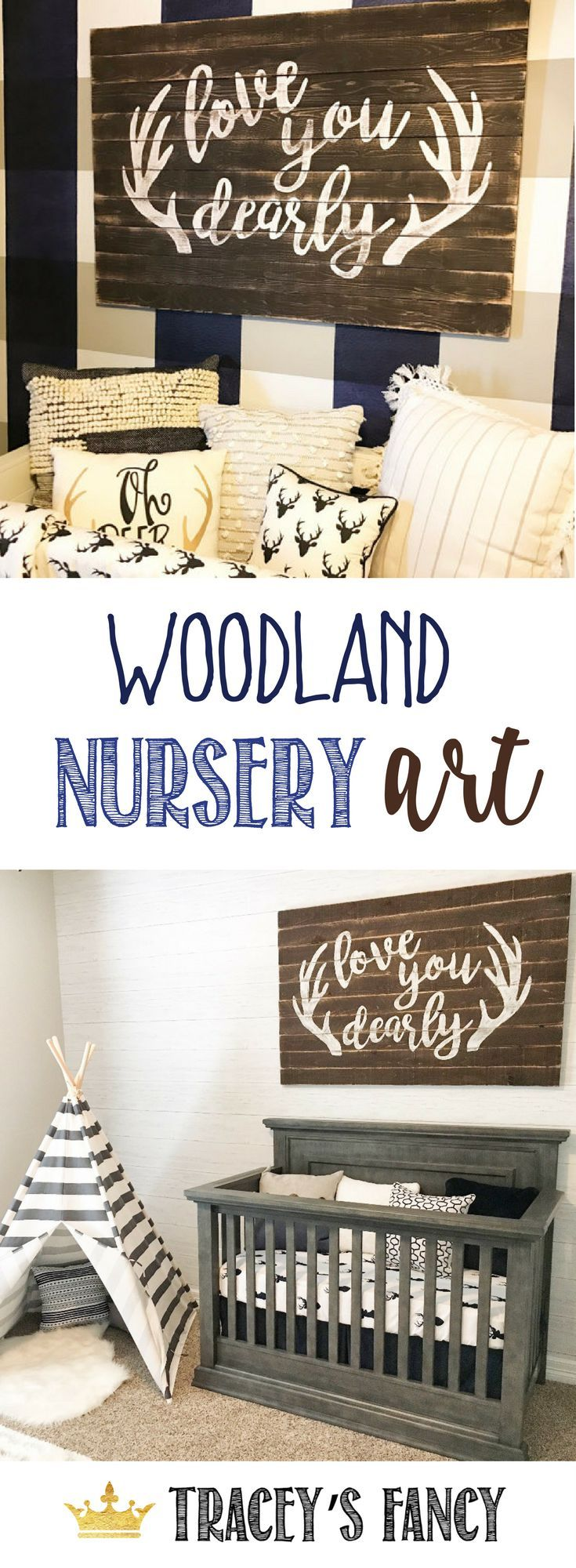 Love you Dearly - Plank Wall art for a Woodland-themed Nursery by Tracey's Fancy - Woodland Decor Ideas | Boys Nursery Ideas | Nursery Art | Boys Bedroom Ideas |