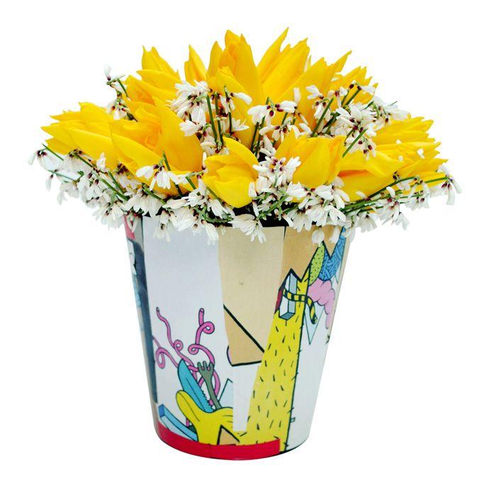 Handmade collage pot with yellow tulips www.fleria.gr
