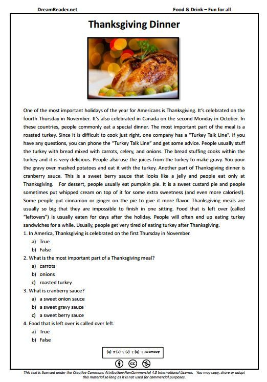 Free ESL worksheet all about Thanksgiving dinner! http://dreamreader.net/wp-content/uploads/2014/11/Thanksgiving-FFA-Food-PDFReading1.pdf