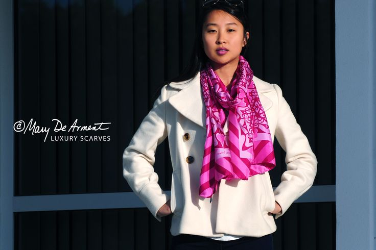 Purple Heart - Limited edition screen printed silk twill, generous oblong proportioned at 20 x 68 inches.