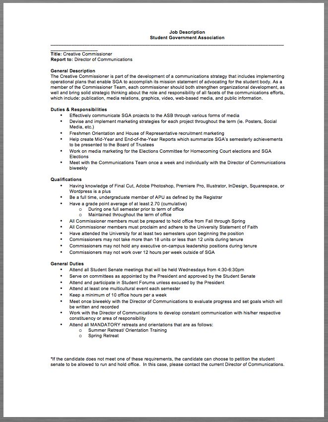 procurement job description Student government, Job