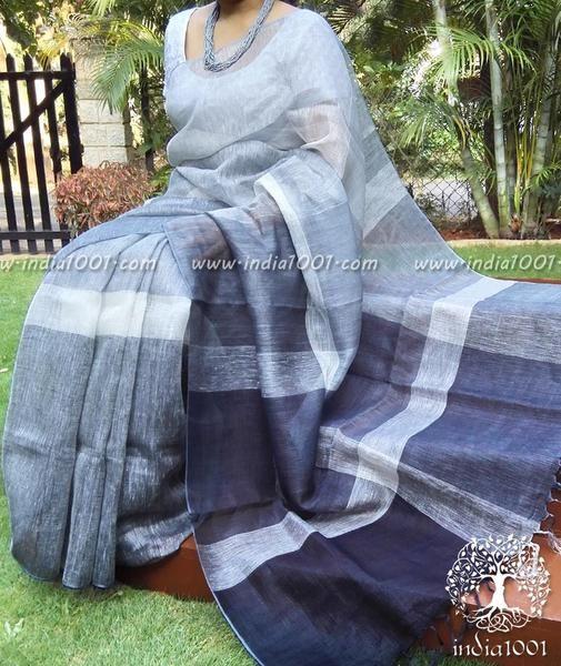 Elegant Hand Woven Linen Saree