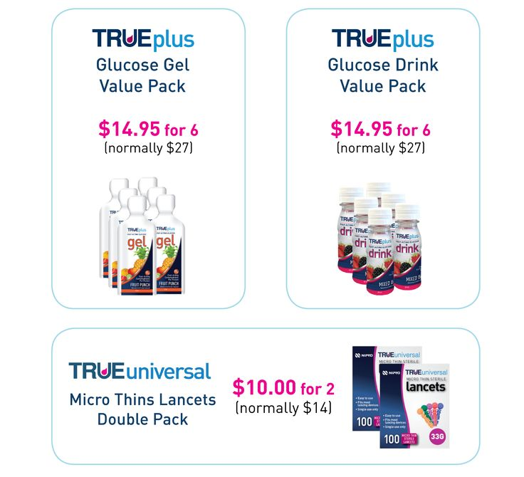 Online special for a limited time!!! Check out our TRUEplus drinks and gels with fast acting glucose to treat low blood sugars. Our TRUEuniversal Micro Thin lancets deliver smooth skin penetration.