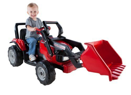 Peg Perego Case IH Power Scoop by Peg Perego. Save 2 Off!. $332.38. From the Manufacturer                Case Ih Power Scoop Tractor makes outdoor play more exciting. Kids will delight in operating this construction tractor with its extra large front loader: for ages 3 to 7 year olds will delight in scooping up their load, driving to their destination and dumping it from the driver's seat. The large bucket seat is adjustable. Includes 2 speeds: Measures 2 1/2 or 5 mph, plus reverse, foot ...