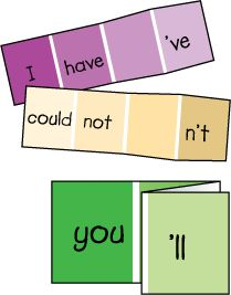 paint samples for teaching contractions: clever idea, and those paint strips are