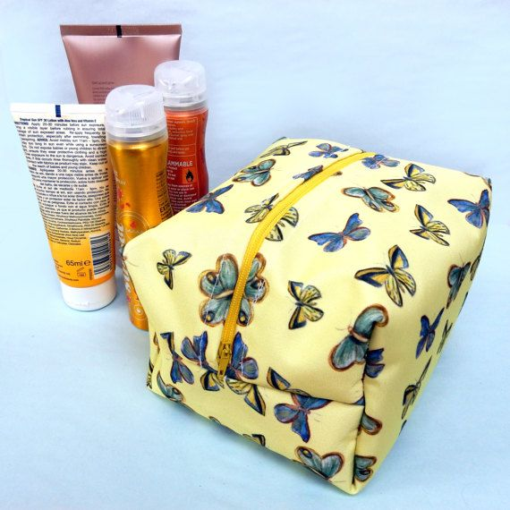 Boxy butterfly wash bag  large butterfly toiletries bag